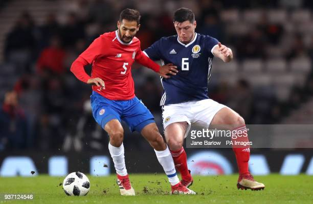 Scotland's Scott McKenna and Costa Rica's Celso Borges battle for the ball during the international friendly match at Hampden Park Glasgow