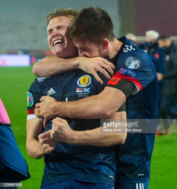 Scotland's Scott McTominay and Declan Gallagher celebrate after David Marshall saves Aleksandar Mitrovi's penalty during the UEFA Euro 2020 Qualifier...