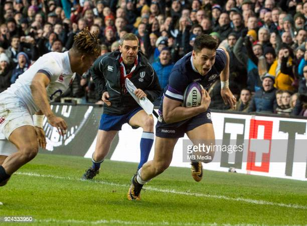 Scotland's Sean Maitland dives over the line to score during the first half of the 6 Nations clash between Scotland and England at BT Murrayfield on...