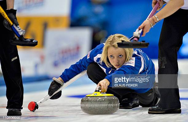 Scotland's skip Anna Sloan delivers the stone during the match between Germany and Scotland at the Women's World Curling Championships in Esbjerg, on...