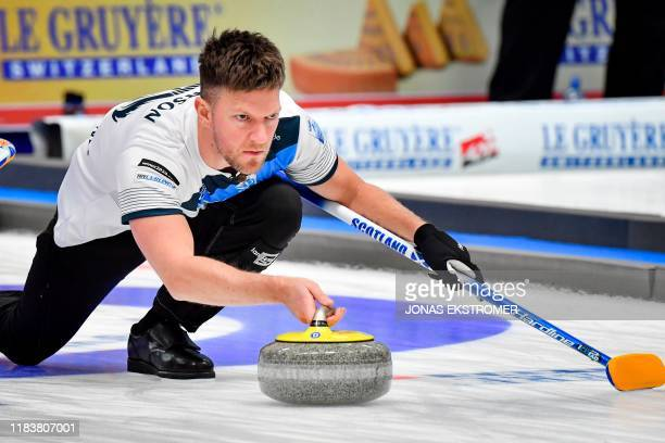 Scotland's skip Ross Paterson in action during the Men's semifinal between Sweden and Scotland at the European Curling Championships in Helsingborg...