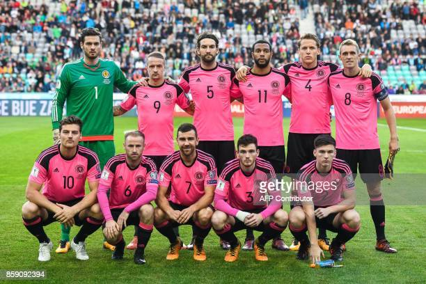Scotland's starting XI Craig Gordon Leigh Griffiths Charlie Mulgrew Matthew Phillips Christophe Berra and Darren Fletcher Chris Martin Barry Bannan...
