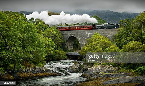 scotland's steam train and landscape - locomotive stock photos and pictures