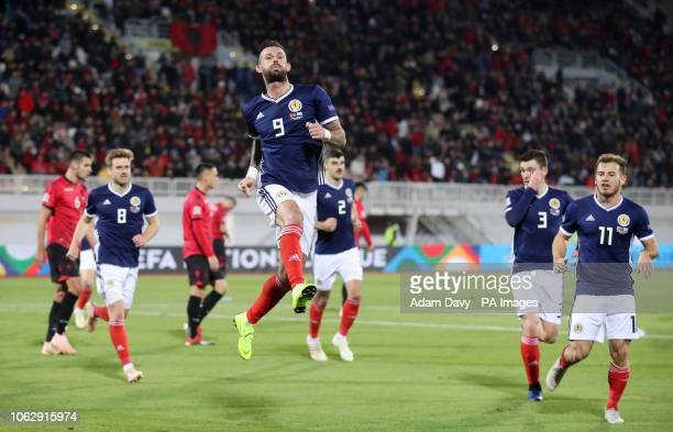 Scotland's Steven Fletcher celebrates scoring his side's second goal of the game from a penalty during the UEFA Nations League Group C1 match at the...