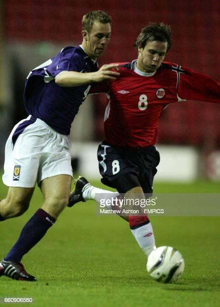 Scotland's Steven Whittaker and Norway's Kristofer Haestad battle for the ball