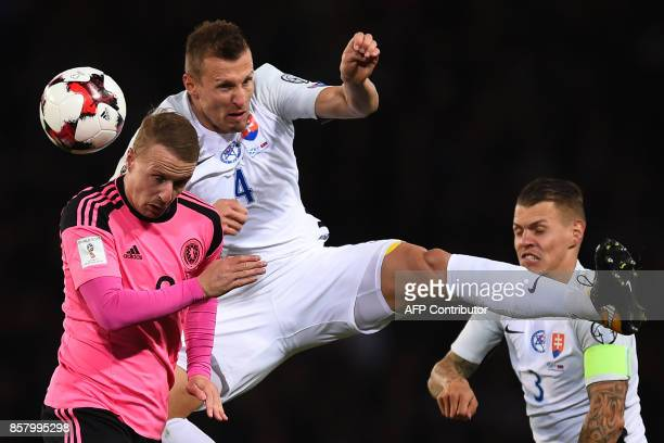 Scotland's striker Leigh Griffiths vies with Slovakia's defender Jan Durica during the FIFA World Cup 2018 qualifying football match between Scotland...
