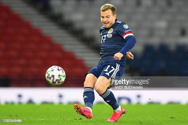 Scotland's striker Ryan Fraser crosses the ball during the FIFA World Cup Qatar 2022 Group F qualification football match between Scotland and Faroe...