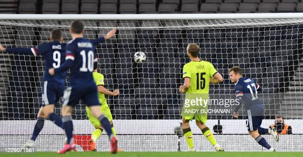 Scotland's striker Ryan Fraser scores the opening goal during the UEFA Nations League group B2 football match between Scotland and Czech Republic at...