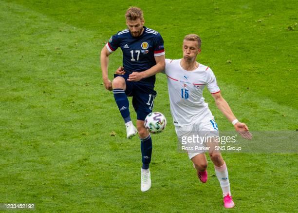 Scotland's Stuart Armstrong and Czech Republic's Tomas Soucek during a Euro 2020 match between Scotland and Czech Republic at Hampden Park on June 14...