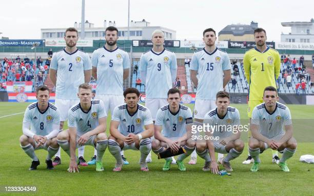 Scotland's team line up during a friendly match between Luxembourg and Scotland at the Stade Josy Barthel on June 06 in Luxembourg, Scotland. Back...