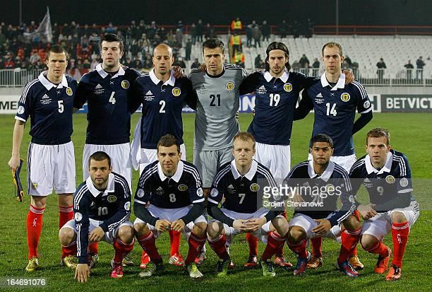 Scotland's team line up prior to the FIFA 2014 World Cup Qualifier between Serbia and Scotland at Karadjordje Stadium on March 26 2013 in Novi Sad...