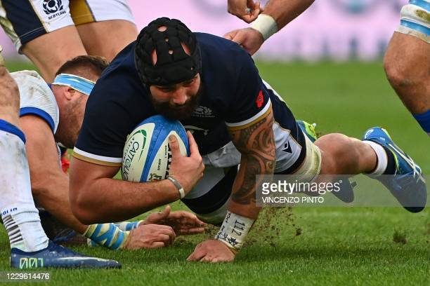 Scotland's tighthead prop Zander Fagerson is tackled during the Autumn Nations Cup rugby union match Italy vs Scotland on November 14, 2020 at the...