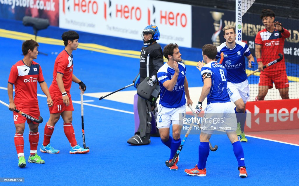 Korea v Scotland - Men's World Hockey League - 9th/10th Play-Off - Lee Valley Hockey Centre : News Photo