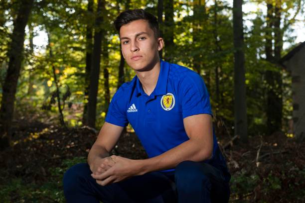 Scotland's Tom McIntyre is pictured during a Scotland U21 media session at Zlin, on October 13 in Zlin, Czech Republic.