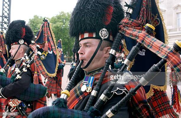 Scots Guards Playing The Bagpipes In The Trooping The Colour Parade