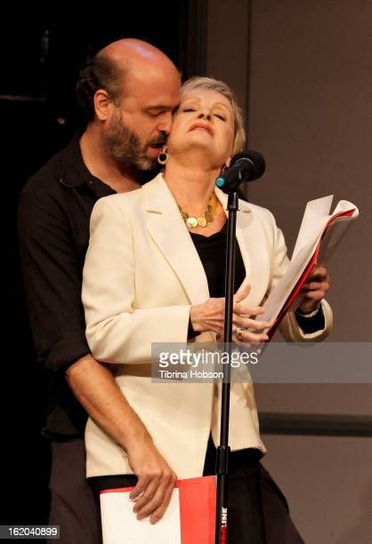 Scott Adsit and Florence Henderson perform at the Celebrity Autobiography Show at ACME Comedy Theatre on February 17 2013 in Los Angeles California