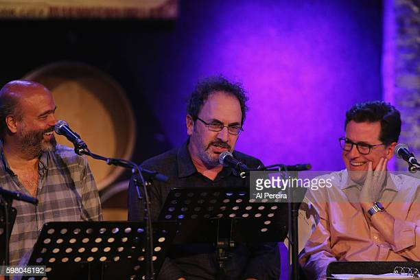 Scott Adsit Robert Smigel and Stephen Colbert perform during the Skull Juice Live comedy summit at City Winery on August 30 2016 in New York City