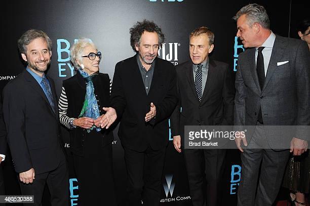 "Scott Alexander, Margaret Keane, Tim Burton, Christoph Waltz, and Danny Huston attend the ""Big Eyes"" New York Premiere at Museum of Modern Art on..."