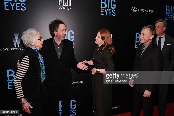 Scott Alexander, Margaret Keane, Tim Burton, Christoph Waltz, and Danny Huston attend The New York Premiere Of BIG EYES at Museum of Modern Art on...