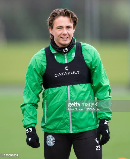 Scott Allan during a Hibernian training session at the Hibernian Training Centre on January 15 in Edinburgh, Scotland.