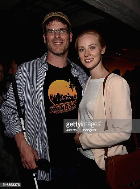 J Scott and actress Deborah Ann Woll attend the after party for the premiere of Netflix's Stranger Things at Mack Sennett Studios on July 11 2016 in...