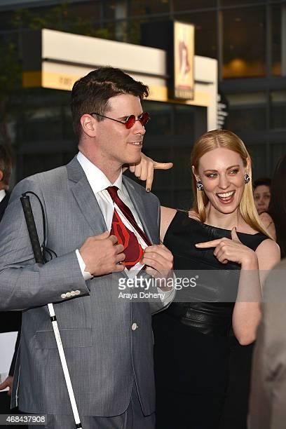 J Scott and Deborah Ann Woll attend the Los Angeles premiere of Netflix's new original series Marvel's Daredevil at Regal Cinemas LA Live on April 2...