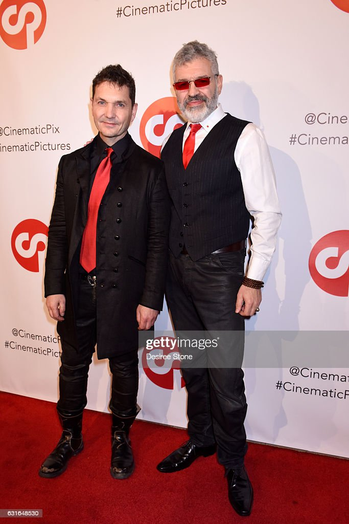 TJ Scott and Dennys Ilic attend the Rachele Royale Single and Music Video Release for 'Circus Life' at Cinematic Pictures Gallery on January 13, 2017 in Hollywood, California.