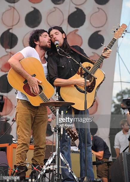 Scott and Seth Avett of The Avett Brothers perform onstage during Bonnaroo 2010 at Which Stage on June 12 2010 in Manchester Tennessee