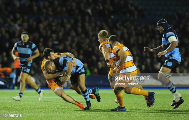 Scott Andrews of Cardiff Blues is tackled by Nico Lee of Toyota Cheetahs during the Guinness Pro14 Round 5 match between Cardiff Blues and Toyota...