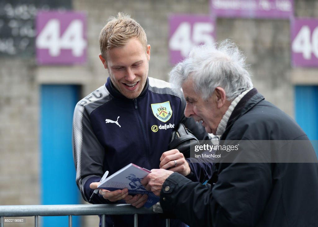 Scott Arfield of Burnley arrives at the stadium prior to the Premier League match between Burnley and Huddersfield Town at Turf Moor on September 23, 2017 in Burnley, England.