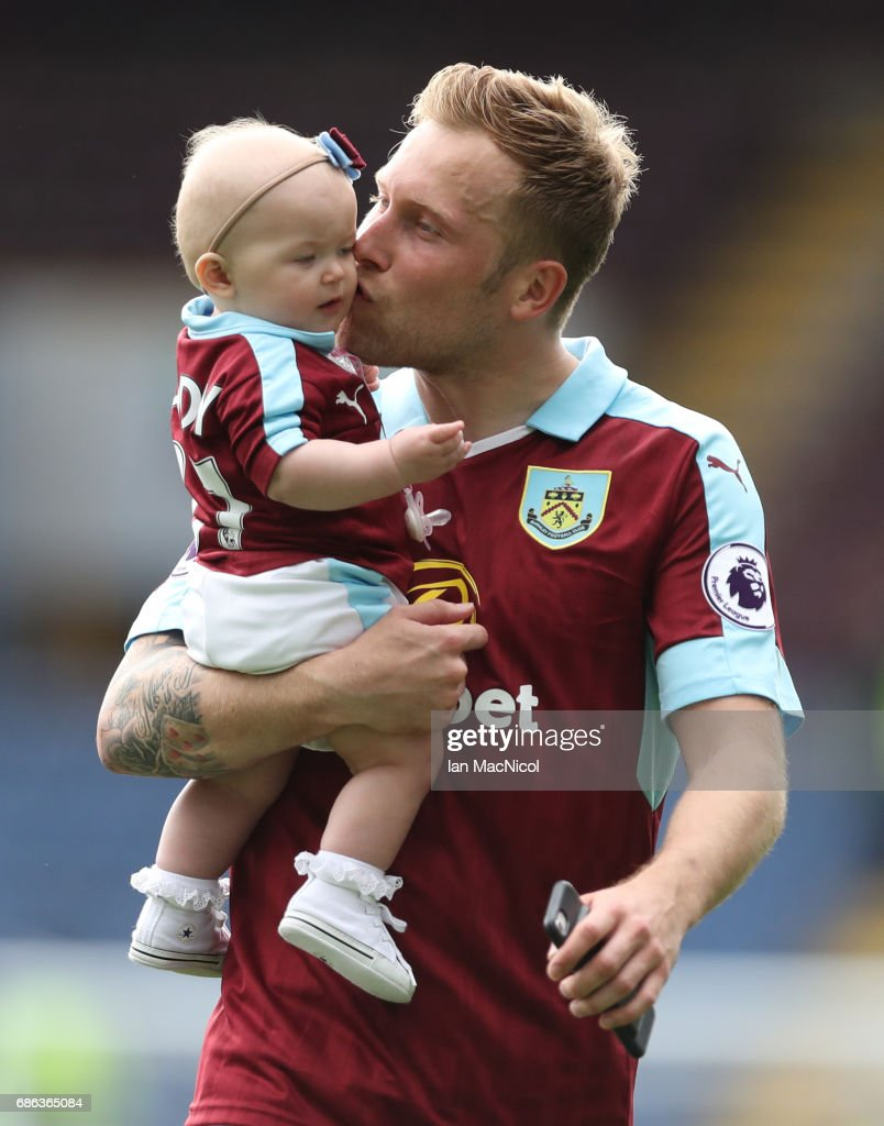 Scott Arfield of Burnley is seen on the pitch at full time during the Premier League match between Burnley and West Ham United at Turf Moor on May 21, 2017 in Burnley, England.