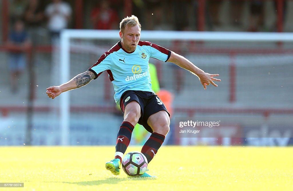 Scott Arfield of Burnley looks on during the pre season friendly match between Morecambe and Burnley at Globe Arena on July 19, 2016 in Morecambe, England.