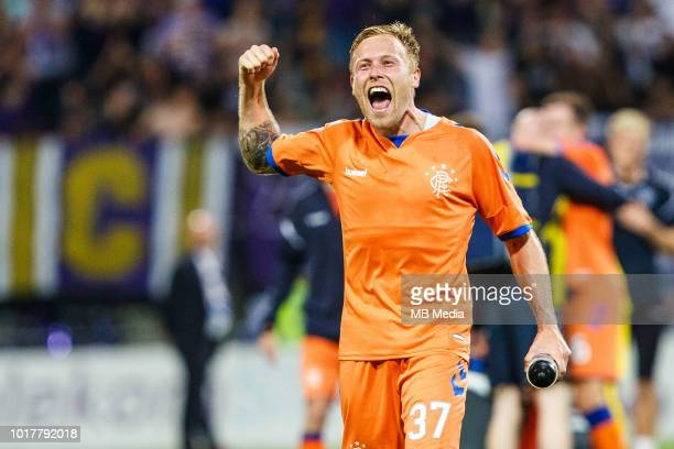 Scott Arfield of FC Rangers celebrates after winning the 2nd Leg football match between NK Maribor and Rangers FC in 3rd Qualifying Round of UEFA...