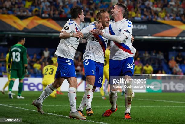 Pablo Fornals of Villarreal CF and Andrew Halliday of Rangers FC during the UEFA Europa League Group G match between Villarreal CF and Rangers FC at...