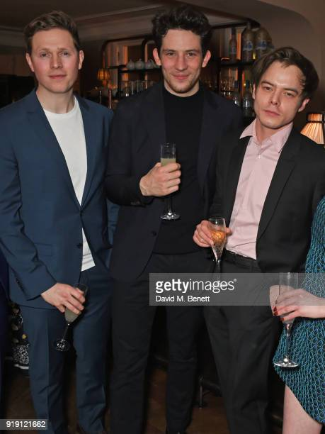 Scott Arthur Josh O'Connor and Charlie Heaton attend Grey Goose Vodka and GQ Style's dinner in celebration of film and fashion at Kettner's on...