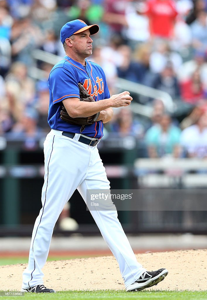 Scott Atchison #50 of the New York Mets reacts after Ryan Howard of the Philadelphia Phillies hits a 2 RBI double in the seventh inning on April 28, 2013 at Citi Field in the Flushing neighborhood of the Queens borough of New York City.