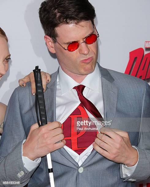 J Scott attends the premiere of Marvel's Daredevil at Regal Cinemas LA Live on April 2 2015 in Los Angeles California