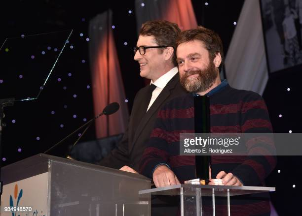 Scott Aukerman and Zach Galifaniakis attend the Venice Family Clinic's 36th Annual Silver Circle Gal at The Beverly Hilton Hotel on March 19 2018 in...