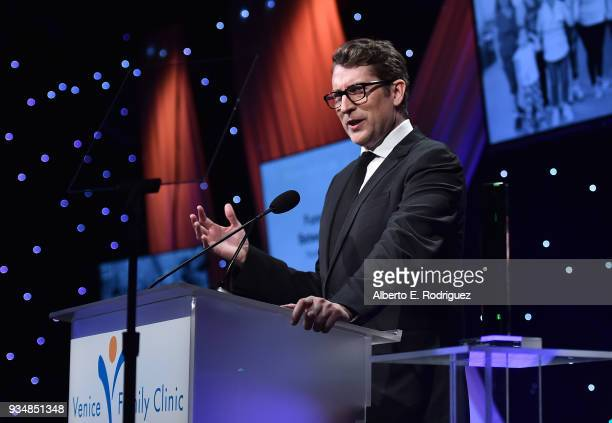 Scott Aukerman attend the Venice Family Clinic's 36th Annual Silver Circle Gal at The Beverly Hilton Hotel on March 19 2018 in Beverly Hills...