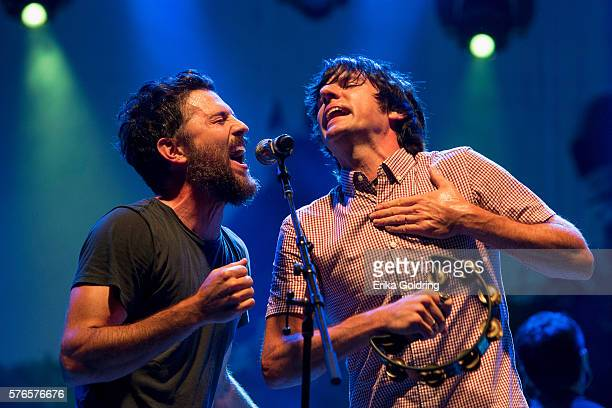 Scott Avett and Seth Avett of the Avett Brothers perform at Waterfront Park on July 15 2016 in Louisville Kentucky