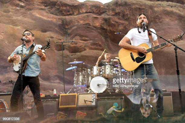 MORRISON CO JULY 1 Scott Avett and Seth Avett of The Avett Brothers perform at Red Rocks Amphitheatre on July 1 2018 in Morrison Colorado