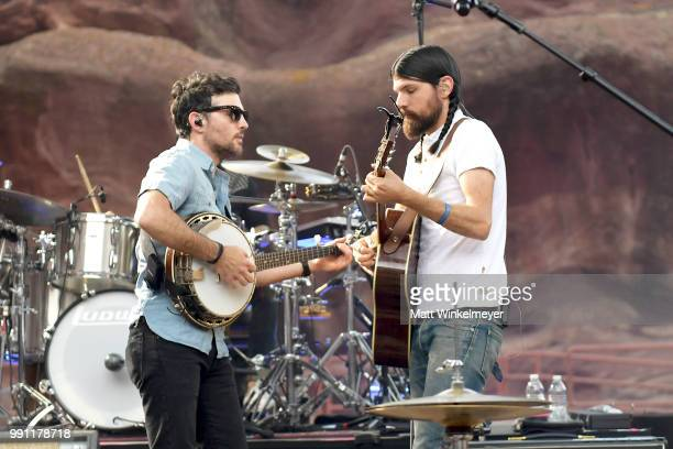 Scott Avett and Seth Avett of The Avett Brothers perform at Red Rocks Amphitheatre on July 1 2018 in Morrison Colorado