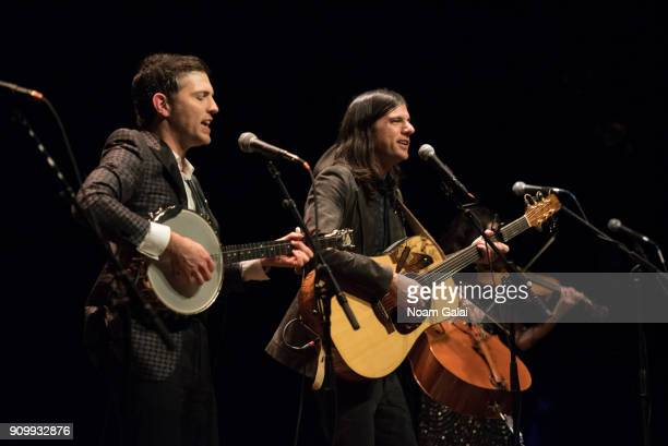 Scott Avett and Seth Avett of The Avett Brothers perform during HBO's 'May It Last A Portrait of the Avett Brothers' NYC premiere on January 24 2018...