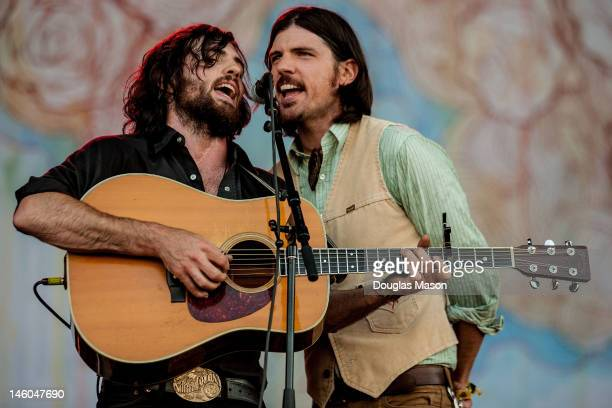 Scott Avett and Seth Avett of The Avett Brothers perform during the 2012 Bonnaroo Music and Arts Festival on June 8 2012 in Manchester Tennessee