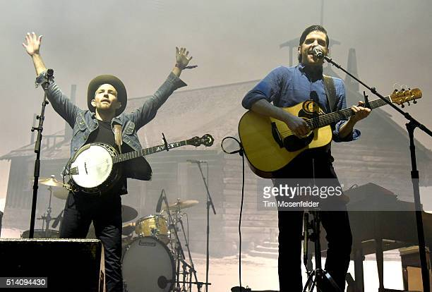 Scott Avett and Seth Avett of The Avett Brothers perform during the Okeechobee Music Arts Festival on March 6 2016 in Okeechobee Florida