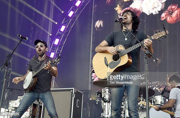 Scott Avett and Seth Avett of The Avett Brothers perform during the Kaaboo Del Mar music festival on September 18 2016 in Del Mar California