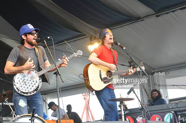 Scott Avett and Seth Avett of The Avett Brothers perform on stage at the New Orleans Jazz Heritage Festival on April 26 2009 in New Orleans