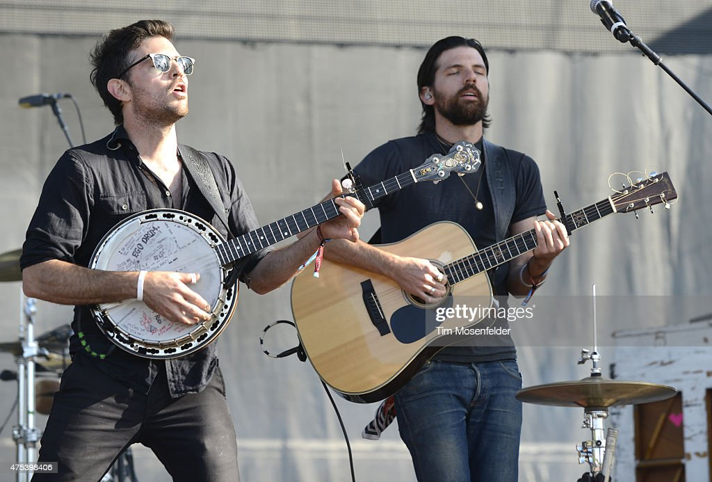 Scott Avett (L) and Seth Avett of the Avett Brothers performs during the Bottle Rock Napa Valley Music Festival at Napa Valley Expo on May 30, 2015 in Napa, California.