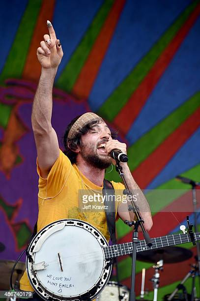 Scott Avett and Seth Avett of the Avett Brothers performs during the 2014 New Orleans Jazz Heritage Festival at Fair Grounds Race Course on April 25...