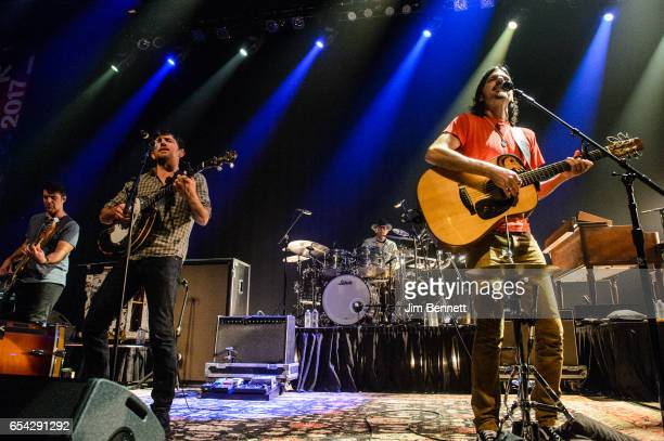 Scott Avett and Seth Avett of the Avett Brothers performs live at ACL Live at the Moody Theater during the SxSW Music Festival on March 15 2017 in...